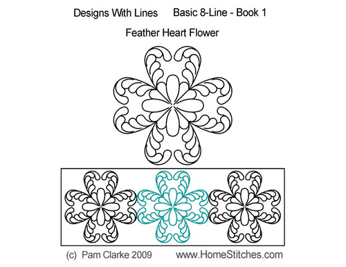 Feather heart flower quilting designs