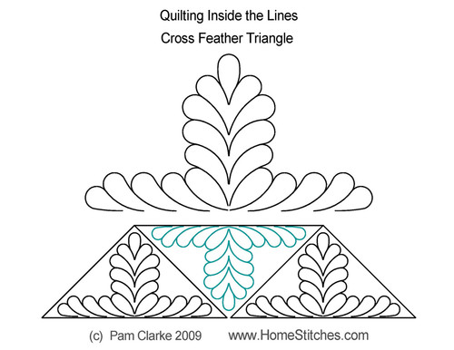 Cross feather quilting triangle quilt design