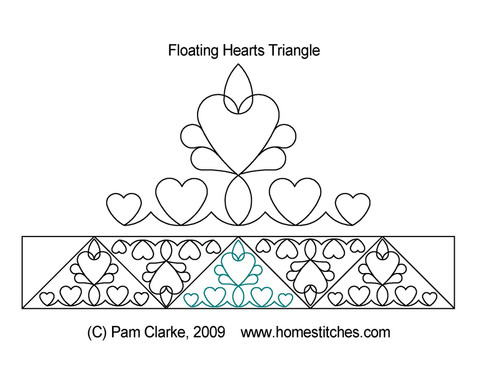 Floating hearts quilting design for triangles