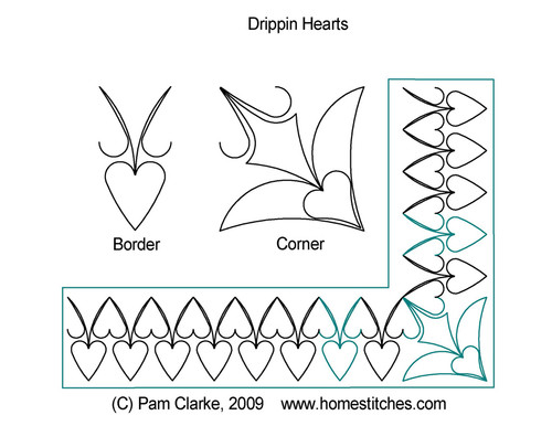 Drippin hearts computerized quilt design