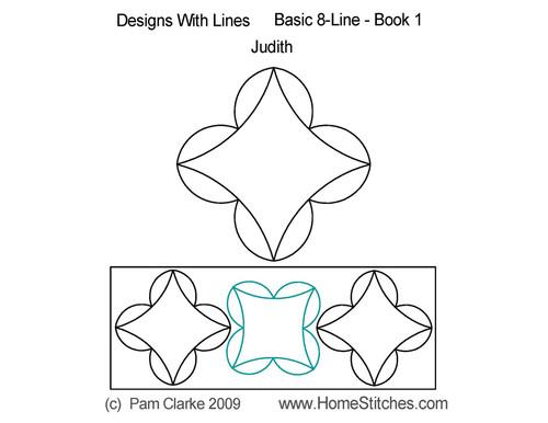 Judith 8 line digitized quilting pattern