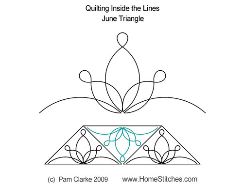June triangle quilting inside the line design