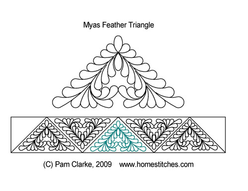 Myas feather triangle quilting design