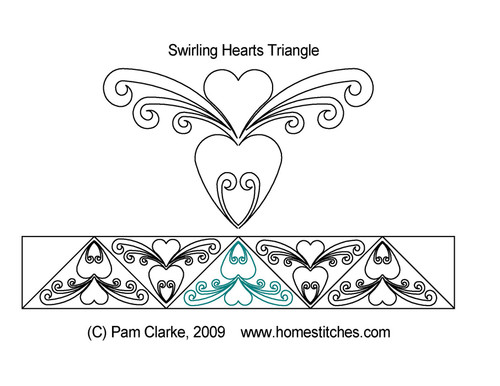 Swirling hearts triangle quilt design