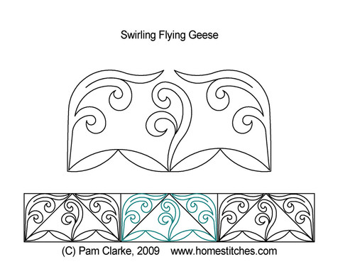Swirling flying geese quilting pattern