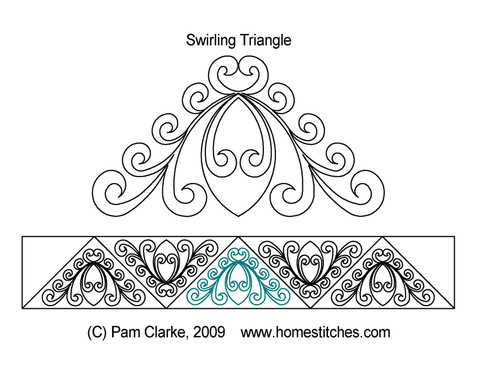 Swirling triangle quilting pattern