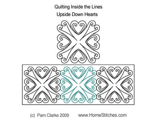 Upside down hearts digital quilt design