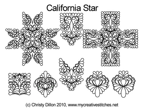 California star digital quilting design set