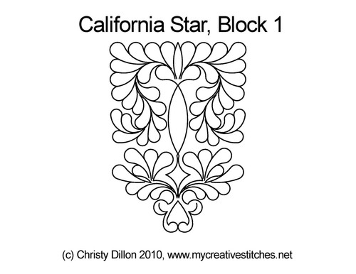 California quilting design for star block 1