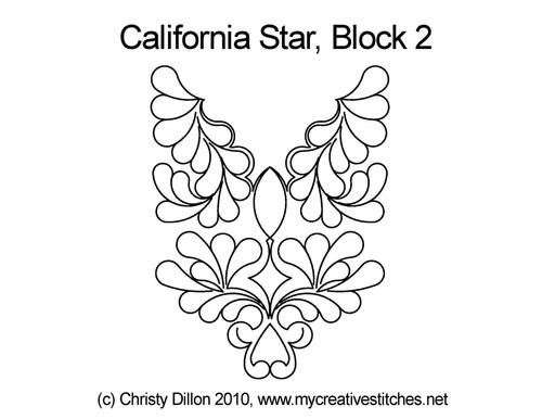 California quilting design for star block 2