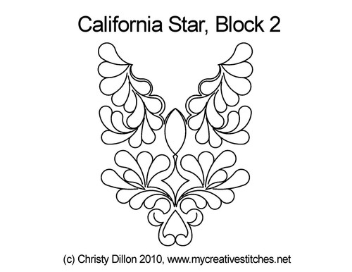 California quilting design for star block 2