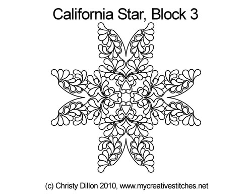 California quilting design for star block 3