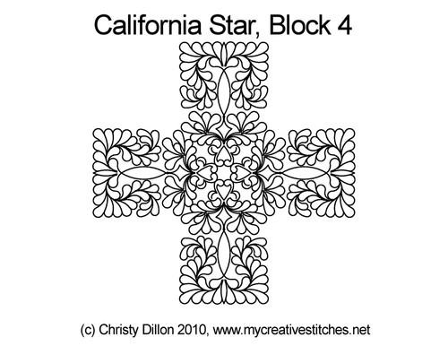 California quilting design for star block 4