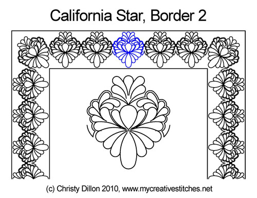 California star border & corner quilt design