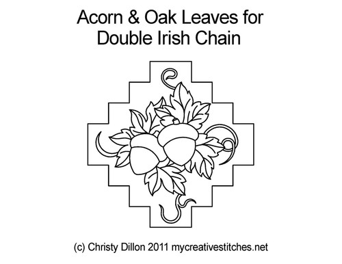 Acorn & oak leaves for double irish chain quilt design