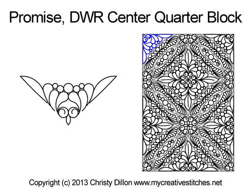 Promise Double Wedding Ring Center Quarter Block