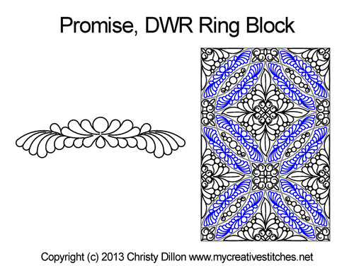 Promise DWR ring quilting design for block