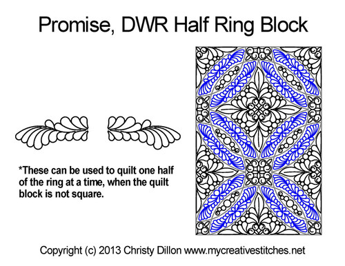 Promise DWR half ring quilt pattern for block