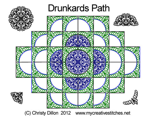 Drunkards path digital quilting set