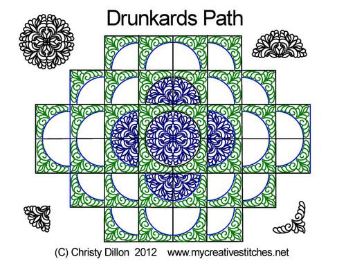 Drunkards path digital quilting set