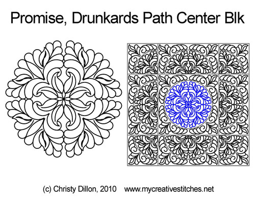 Promise drunkards path center block quilting
