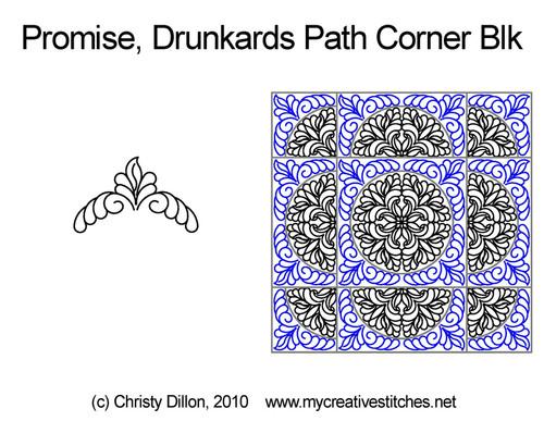 Promise drunkards path corner block quilting