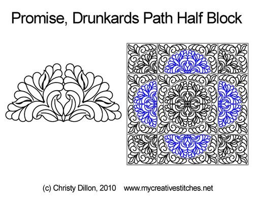 Promise drunkards path half block quilt pattern