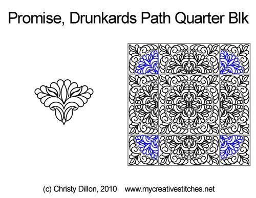 Promise drunkards path quarter block quilt designs