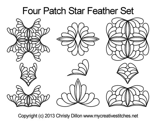 Four patch star feather quilting pattern set