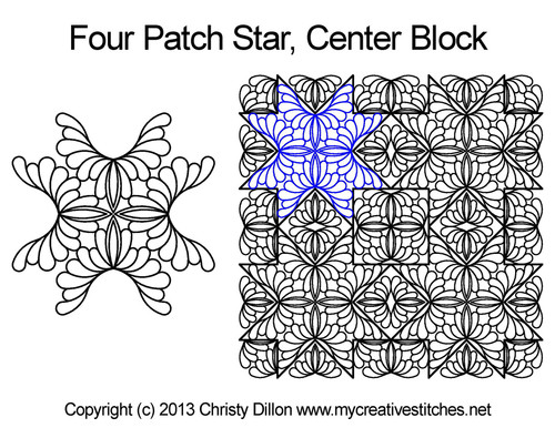 Four patch center quilting ideas for star blocks