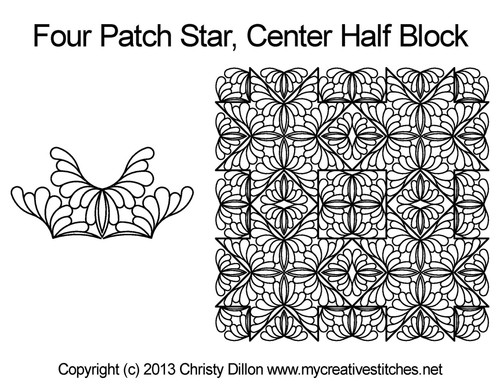 Four patch center quilting ideas for half blocks