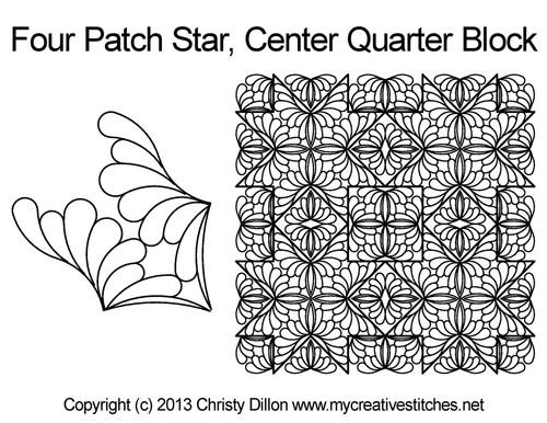 Four patch star center quarter block quilting