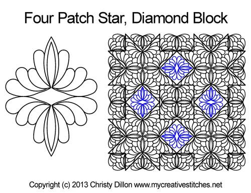 Four patch star diamond block quilt design