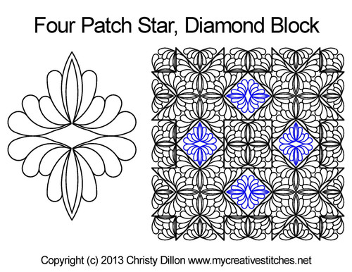 Four patch star diamond block quilt design
