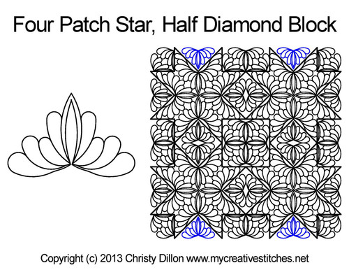 Four patch star half diamond block quilt design