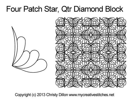 Four patch star quarter diamond block quilting