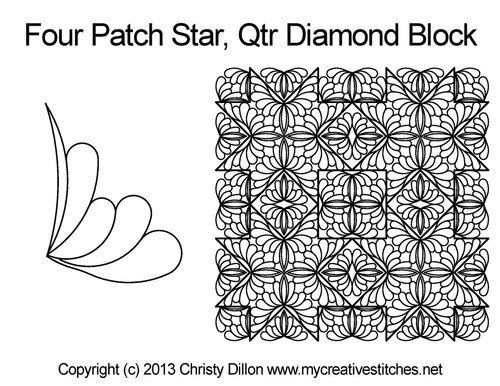 Four patch star quarter diamond block quilting