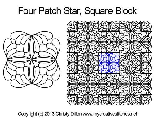 Four patch star square block quilt designs