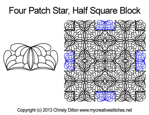 Four patch star half square block quilt design