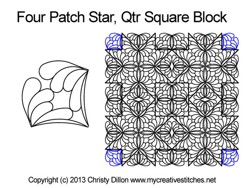 Four patch star quarter square block quilting