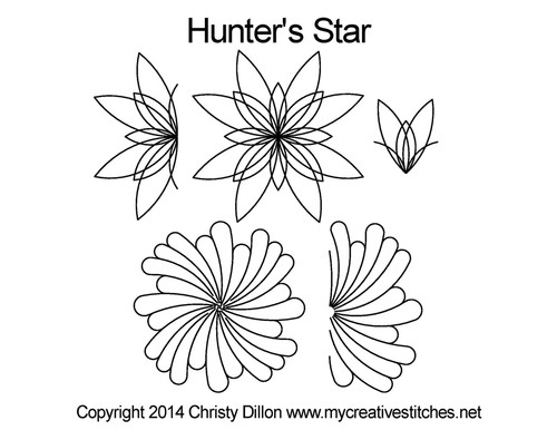 Hunter's Star flower quilting pattern set
