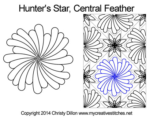 Hunter's central feather quilt design for star block