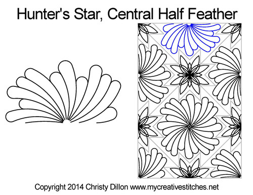 Hunter's central half feather quilt design for star block