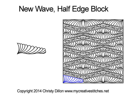 New wave half edge block quilting pattern
