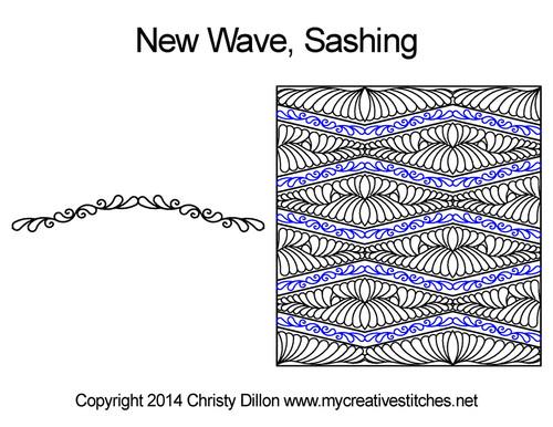 New wave digitized sashing quilt design