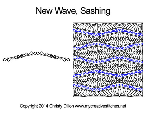 New wave digitized sashing quilt design