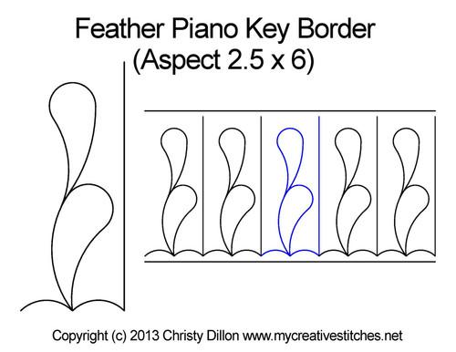 Piano Key Border Feather (2.5 x 6)