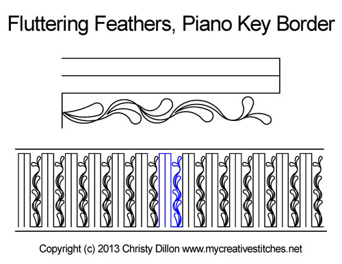 Fluttering Feathers Piano Key Border