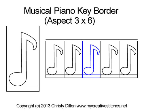 Musical piano key border quilting pattern