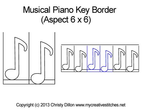 Musical piano key border quilt design